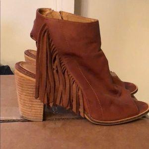 Catherine Malandrino Leather Fringe Open Booties